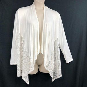 Belle Amie Ivory 1X Lace Inlay Open Cardigan Top